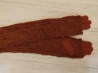 Меховые перчатки длинные с митенками (рукав, довяз)