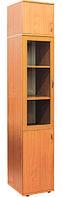 Пенал с стеклянной дверкой в рамочном фасаде на 5 отделений и полок 402х403х2186мм