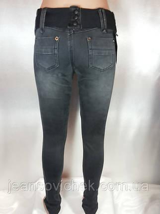 Модные  узкие женские джинсы  серого цвета, фото 2