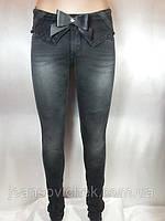 Модные  узкие женские джинсы  серого цвета