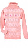 Розовый свитер для девочки под горло 116-122 размер