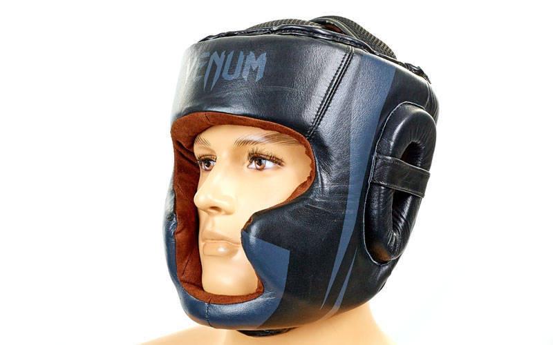 Шолом боксерський з повним захистом Шкіра VENUM BO-5239-BK