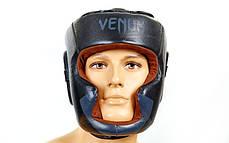 Шолом боксерський з повним захистом Шкіра VENUM BO-5239-BK, фото 2