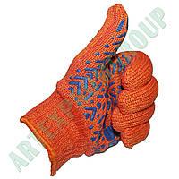 Перчатки трикотажные с т. ПВХ оранжевые, уплотненные (Украина)