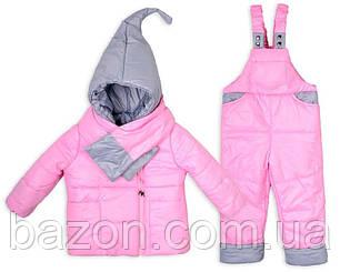 Дитячий зимовий комбінезон Гномик (з шарфом) 1-4 роки рожевий