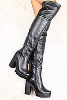 Ботфорты кожаные зимние черные,в евро зима, на тракторном каблуке