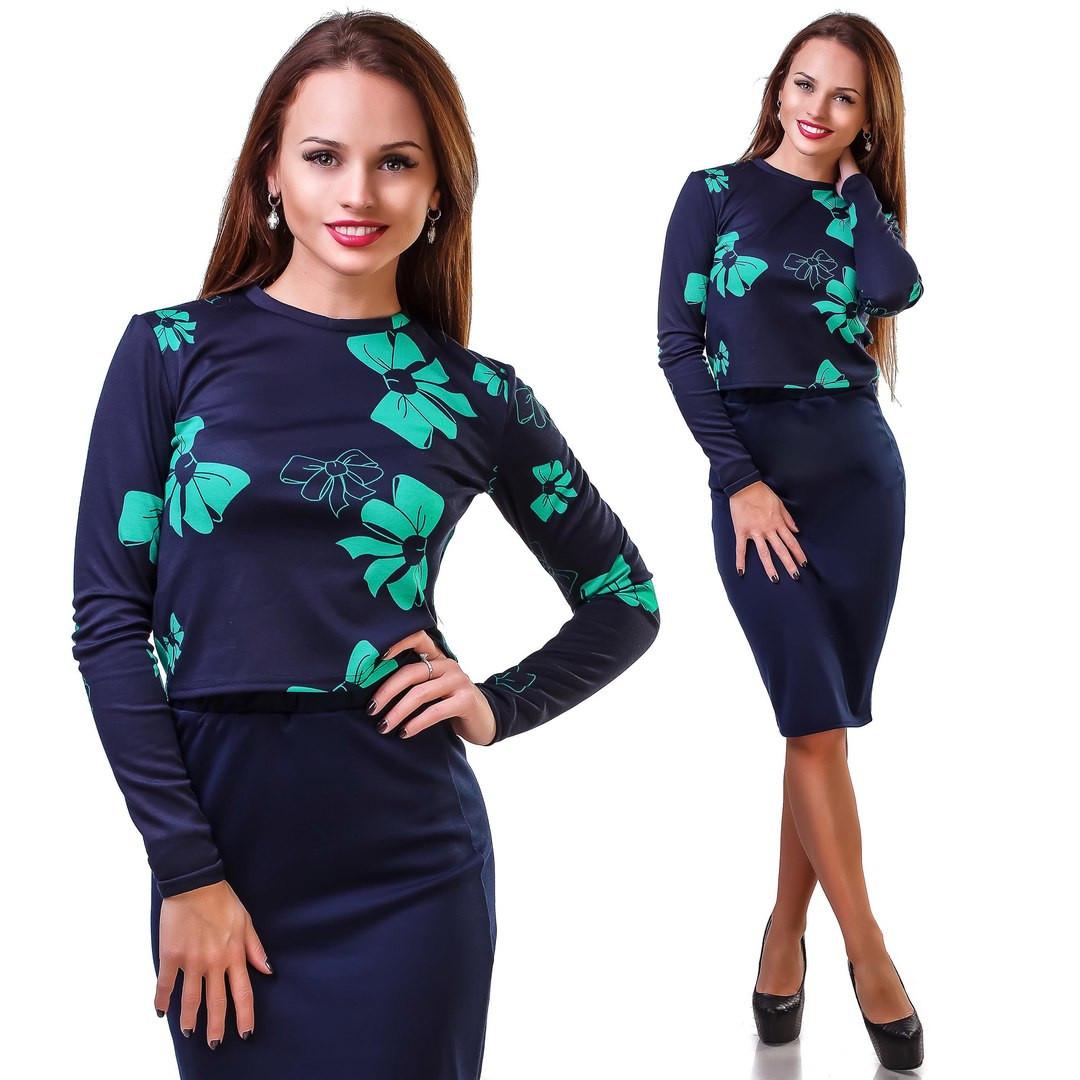 Женский костюм юбка и блуза принт, фото 1