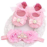 Пинетки и повязка-украшение на голову для новорожденной девочки