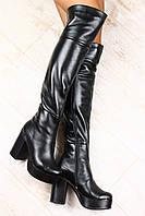 Ботфорты кожаные на толстом устойчивом каблуке евро зима черного цвета