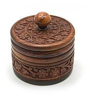 Шкатулка круглая деревянная резная