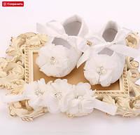 Пинетки для новорожденной девочки с нарядной повязкой на голову., фото 1