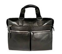 Деловая сумка, портфель кожаный мужской Bond Non 1366-281 черный, 39*28*12 см