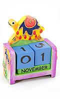 Детский календарь из дерева Черепаха