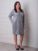 Модное женское замшевое платье серого цвета