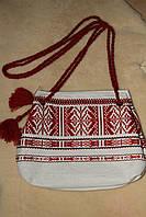 Льняная сумка с красной вышивкой