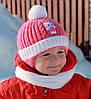 Зимняя шапка для девочки на плюшевом мехе Китти Арктик (ОГ 40-44)
