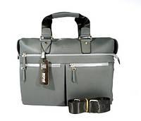 Деловая сумка, портфель кожаный мужской Bond Non 1366-1032 серый, 39*28*12 см
