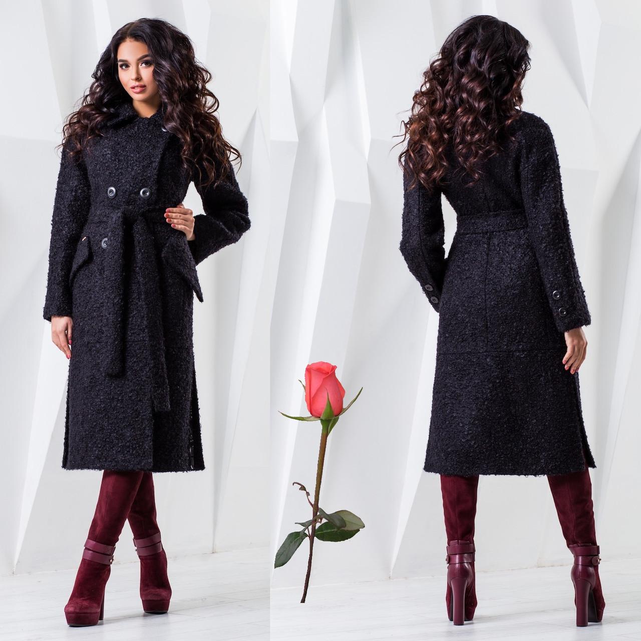 Двубортное демисезонное пальто F 77983  Черный