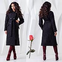 Демісезонне пальто двобортне F 77983 Чорний, фото 1