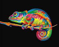 Картина по номерам Радужный хамелеон Turbo VK005