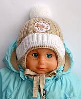 Зимняя шапка для мальчика на плюшевом мехе Самолетик Арктик (ОГ 40-44)