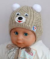 Зимняя шапка для новорожденных на плюшевом мехе Малыш Арктик (ОГ 36-40)
