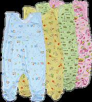 Ползунки теплые, цветные, на кнопках, закрытая ножка, начёс (байковые) рост 56, 62, 68, 74, 80 см, ТМ Алекс