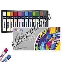 Пастель сухая, квадратная,   premium, серия  Artist, в пластиковом контейнере, 12 цветов