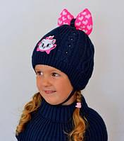 Зимняя шапка для девочки кокетки на флисе Мари Арктик (ОГ 46-50)