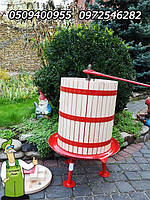 Большой садовый пресс винтовой на 43 литров для яблок и винограда, дубовый (Италия-Венгрия)