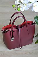 Бордовая сумка-шоппер из Италии