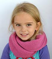 Вязаный шарф снуд, темно-розовый (от 4 лет до взрослого возраста)