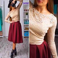 Женский красивый костюм: кружевной топ и юбка (расцветки)