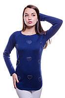 Теплый джемпер из ткани альпака с сердечками