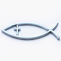 """Автомобильная эмблема """"Рыбка с крестом"""""""