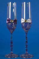 """Свадебные бокалы """"Glass bow"""" синие"""