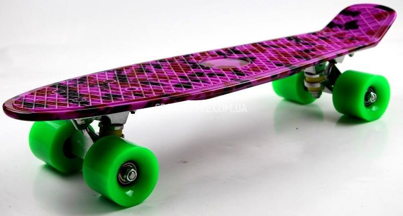 "Пенни борд Penny Style 22"" с рисунком светящиеся колеса Military Violet (2T2034/WL/MFT)"