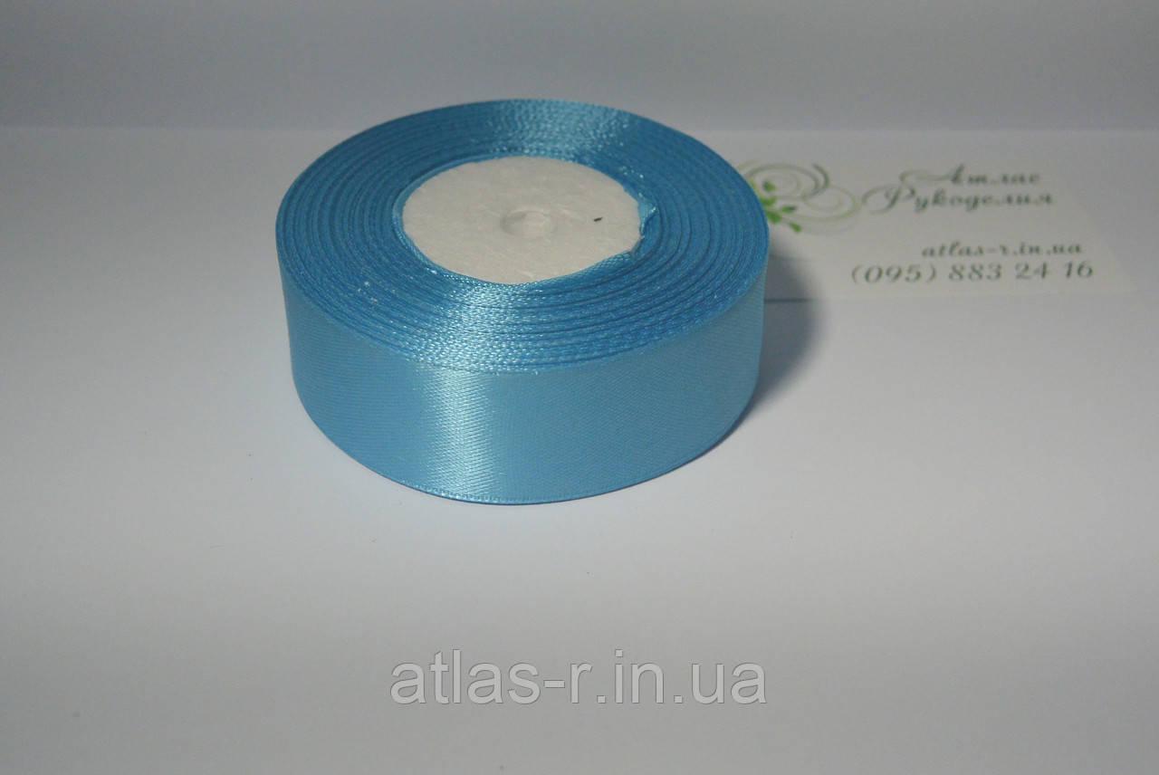 Голубая атласная лента 25мм моток