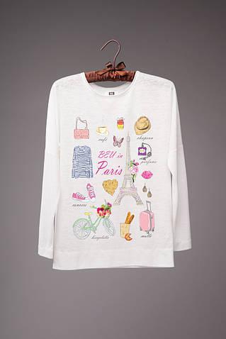Молочный топ с длинным рукавом с принтом Paris girl