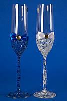 """Свадебные бокалы """"Glass bow"""" синий с белым"""