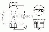 Лампа накаливания, фарная (12V 5W W5W) BOSCH