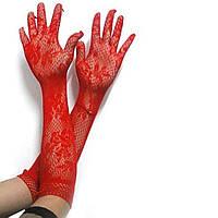 Длинные ажурные красные женские перчатки, размер универсальный. Розница, опт.