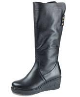 Сапоги еврозима  женские МИДА 24468 черные,кожаные на танкетке.
