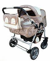 Детская универсальная коляска для двойни Verdi Bajtek, не поворотные колеса, шоколад