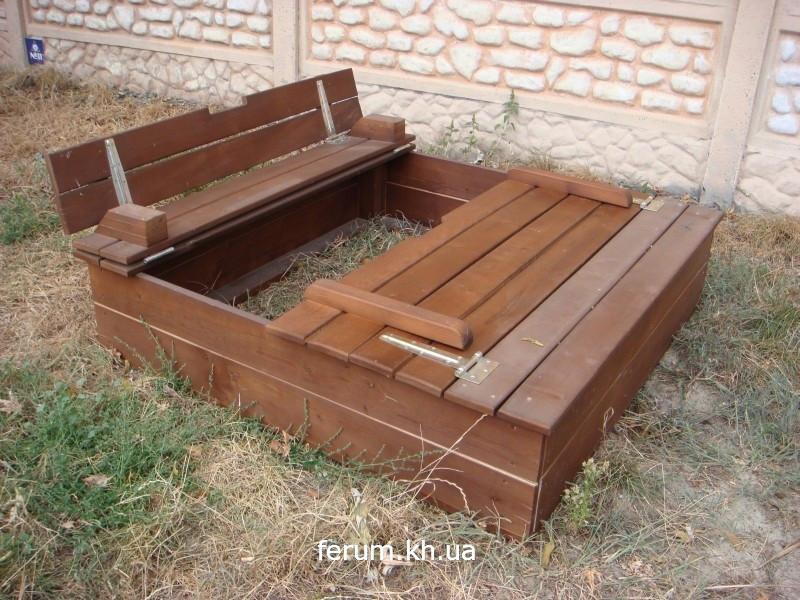 Песочница с крышкой -  скамейкой