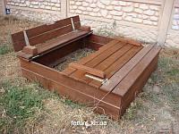 Песочница с крышкой -  скамейкой, фото 1