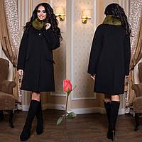 Зимнее пальто с отстегивающимся мехом на воротнике  F  77978  Черный