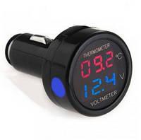 Термометр вольтметр в авто прикуриватель #100267