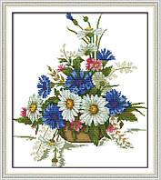 Полевые цветы в корзине Набор для вышивки крестом с печатью на ткани 14ст