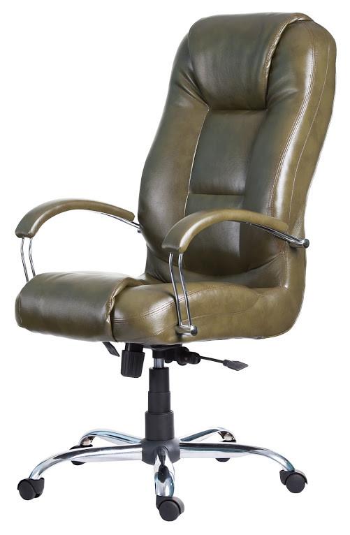Кресло Севилья Хром механизм Tilt подлокотники Пластина, кожзаменитель Мадрас Оливка (Richman ТМ)
